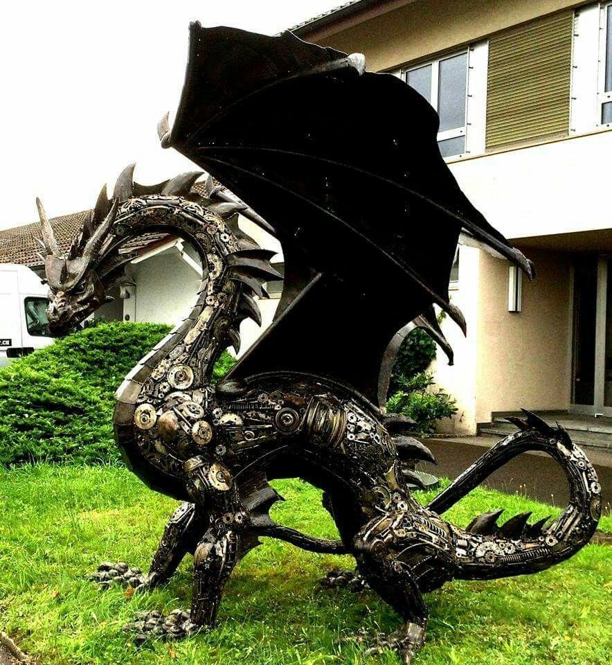Scrap metal dragon Scrap metal art, Steampunk dragon