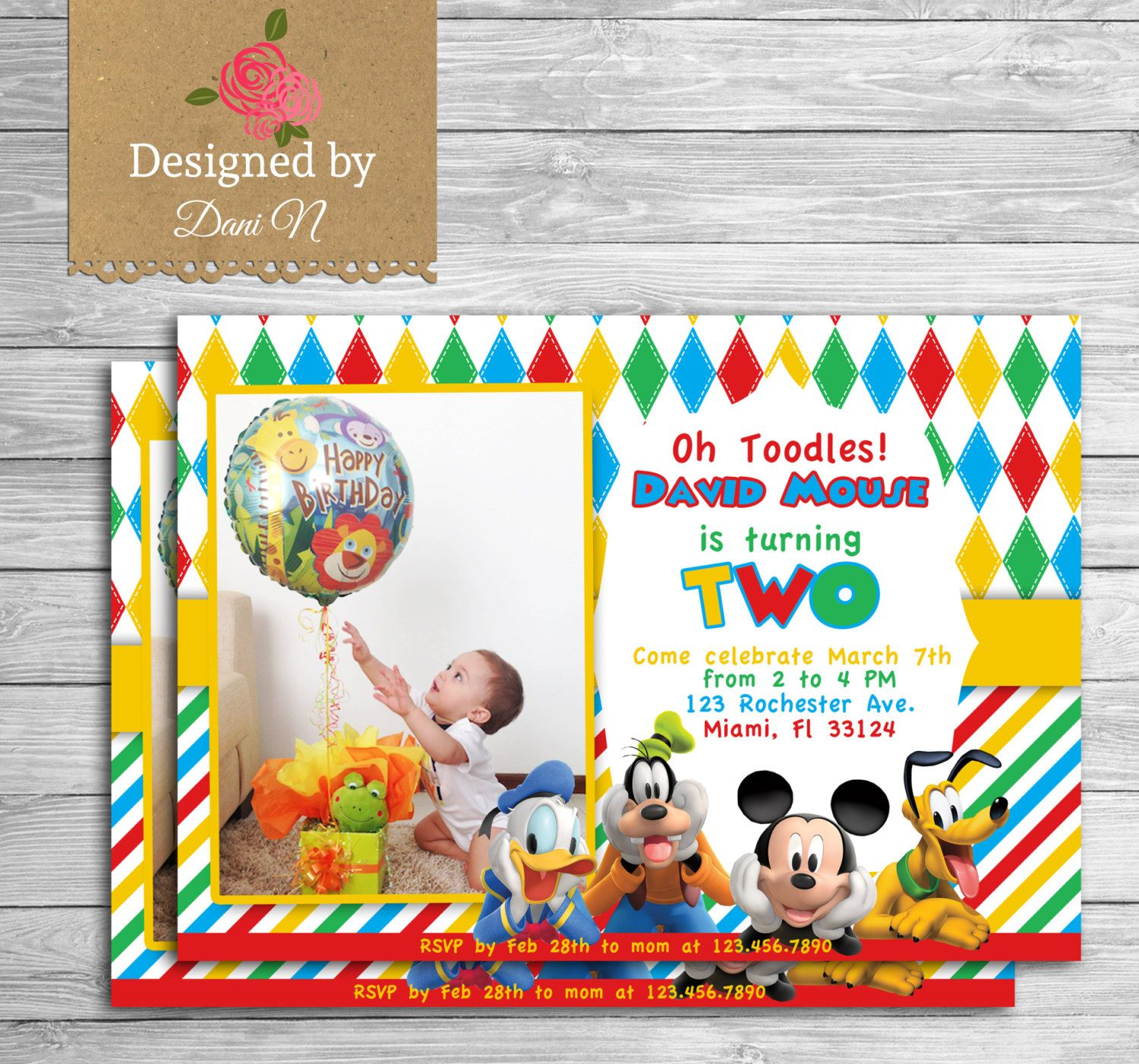 New to DesignedbyDaniN on Etsy: Mickey Mouse birthday invitation ...