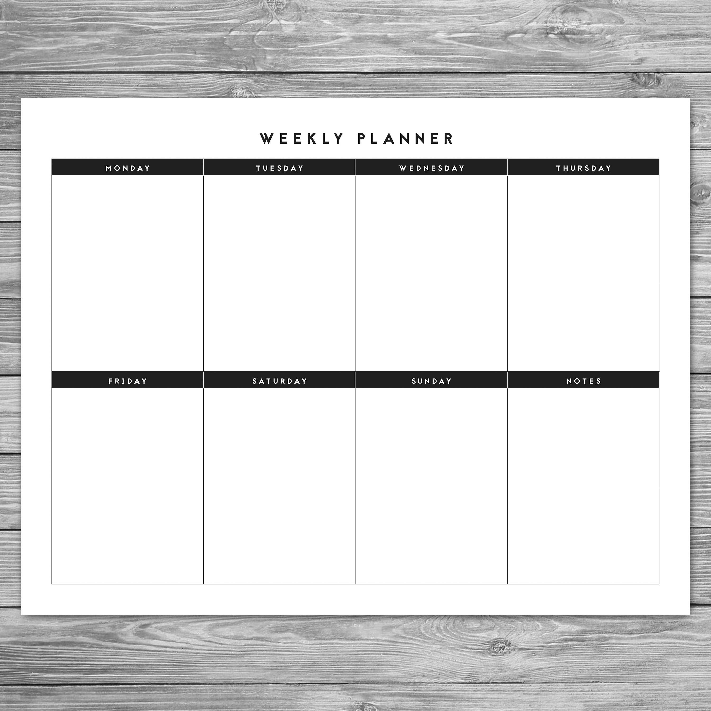 Printable Landscape Minimalist Weekly Planner Weekly Schedule