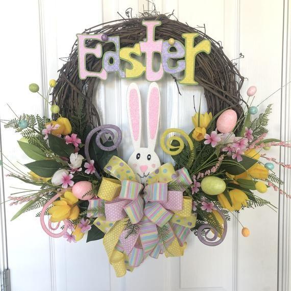 Photo of Easter Bunny Wreath. Front Door Wreath.  Easter Decor.