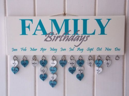 Details About Family Birthday Reminder Plaque Board Calendar
