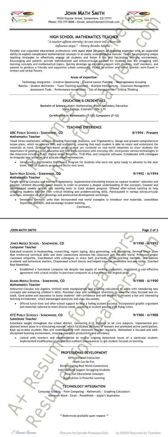 Math Teacher Resume Example Resume examples and Teacher - technical writer resume sample