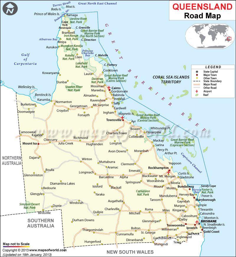 Map Of Queensland Australia.Queensland Road Map Maps Globes Australia Tourism Queensland