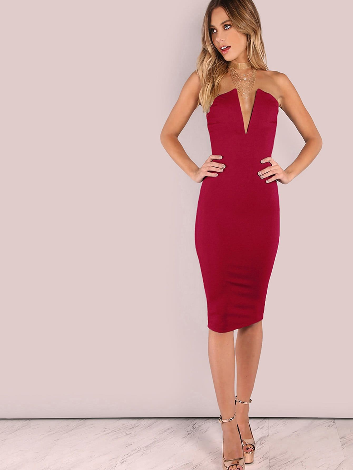 f592109baa6e Sexy Pencil and Tube Backless Plain Bodycon Deep V Neck and Strapless  Sleeveless Natural Hot Pink Knee Length Bandeau Off Shoulder Skinny Solid  Dress