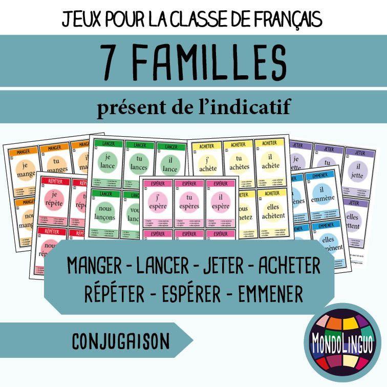 Jeu De 7 Familles Pour La Classe De Francais Fle Sur La Conjugaison Des Verbes Manger Lancer Jeter Acheter Repet Conjugaison Verbe Conjugaison Verbe Etre