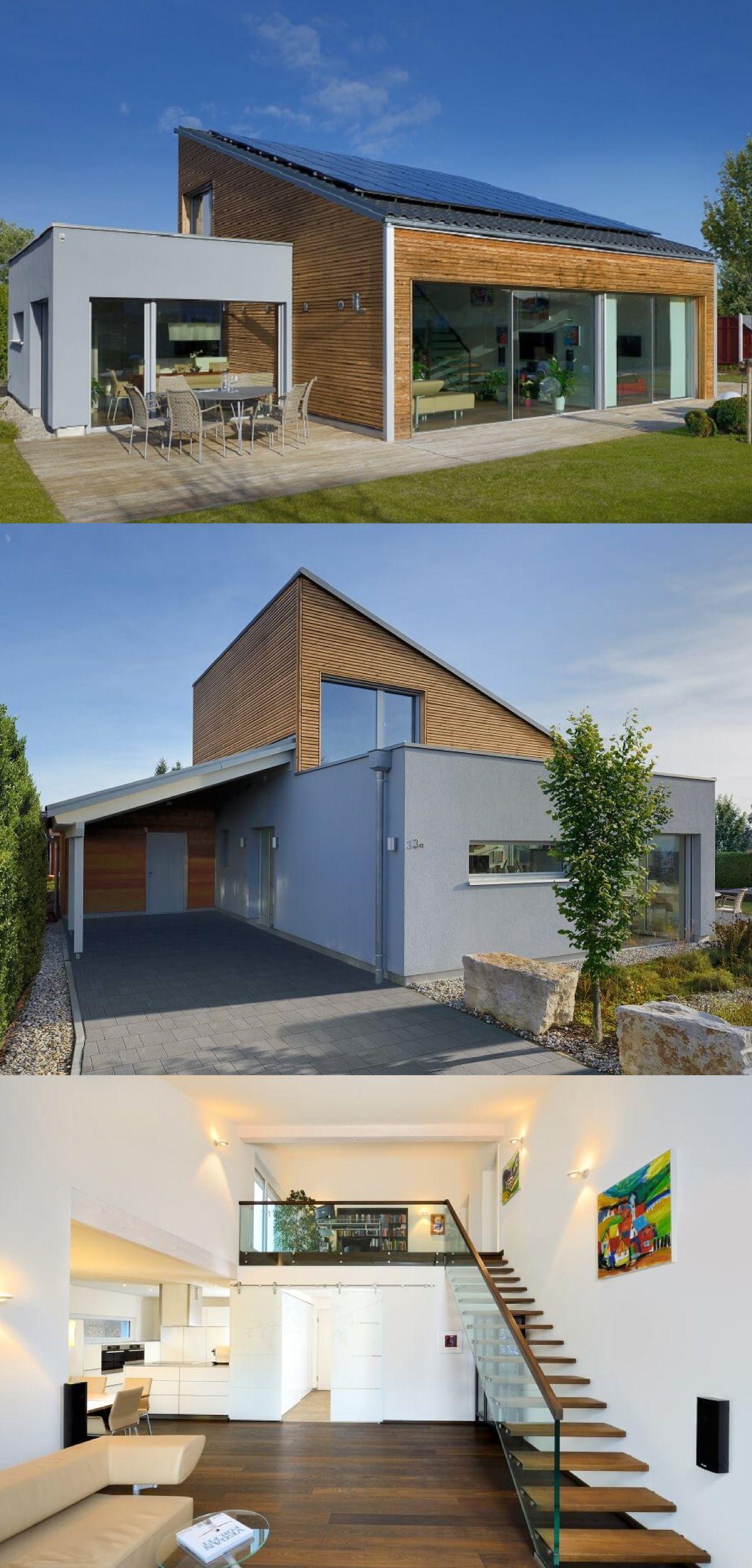 Moderner bungalow mit pultdach haus ederer von baufritz for Haus mit satteldach moderne architektur