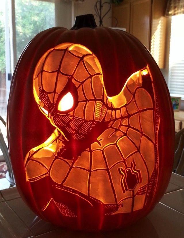 Awesome spider man green goblin and venom pumpkin