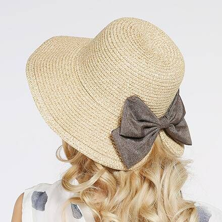 22d3c347e40 Womens bucket hat with bow for summer UV protection straw sun hats ...