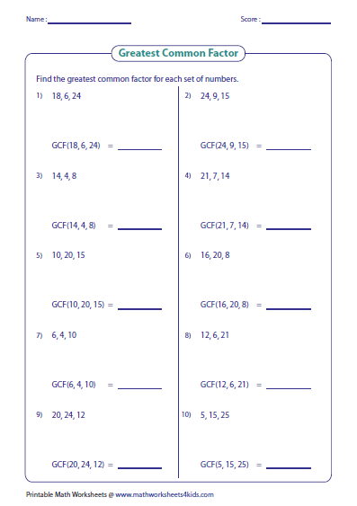 Find Greatest Common Factor For Each Set Of Numbers Greatest Common Factors Common Factors Printable Math Worksheets