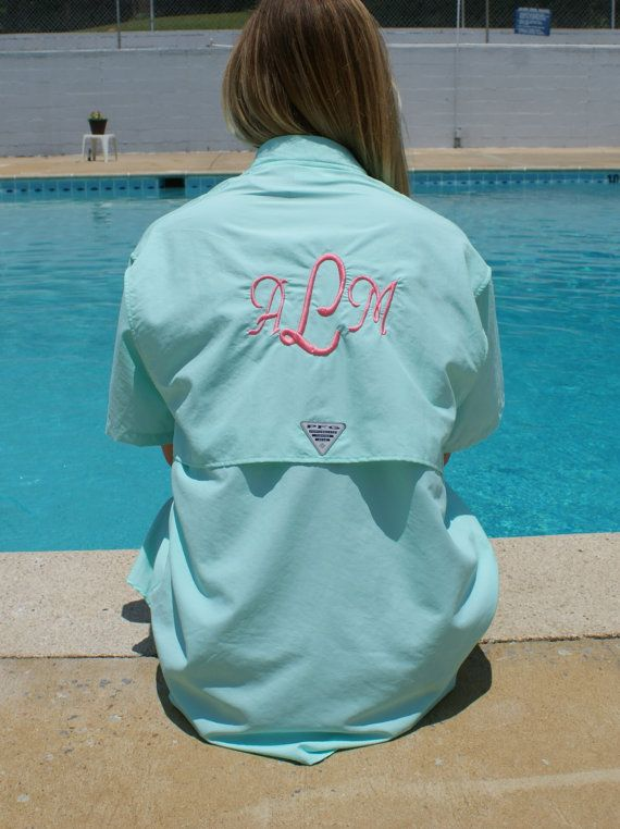 9a9b20e0aa Monogramed Fishing Shirt PFG - Bathing Suit Cover Up - Swimsuit Cover up - Monogrammed  Shirt - Personalized Cover Up - Columbia Shirt