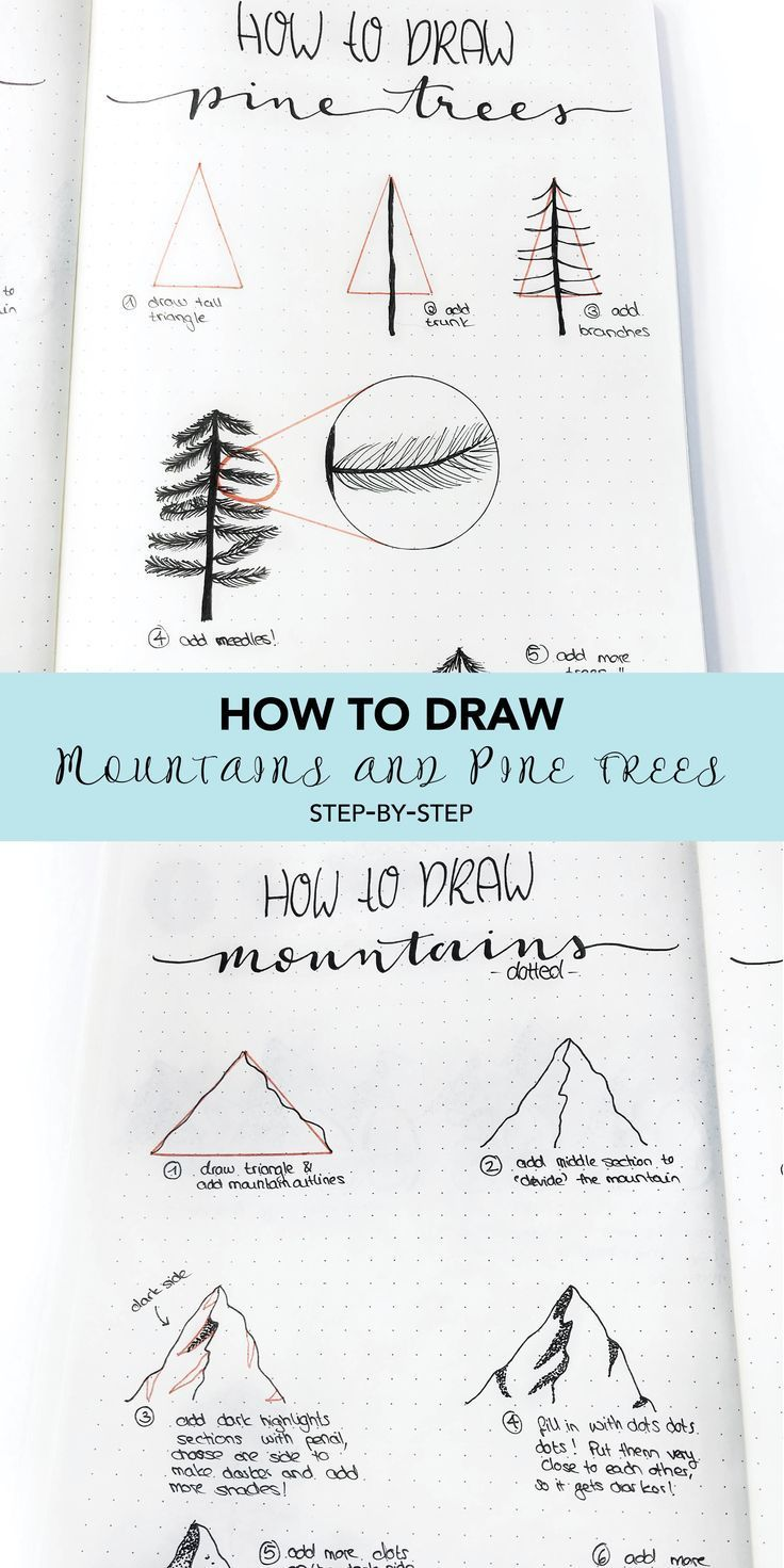 How to draw mountains and pines. Step-by-step instructions on how to draw my picture ...#draw #instructions #mountains #picture #pines #stepbystep
