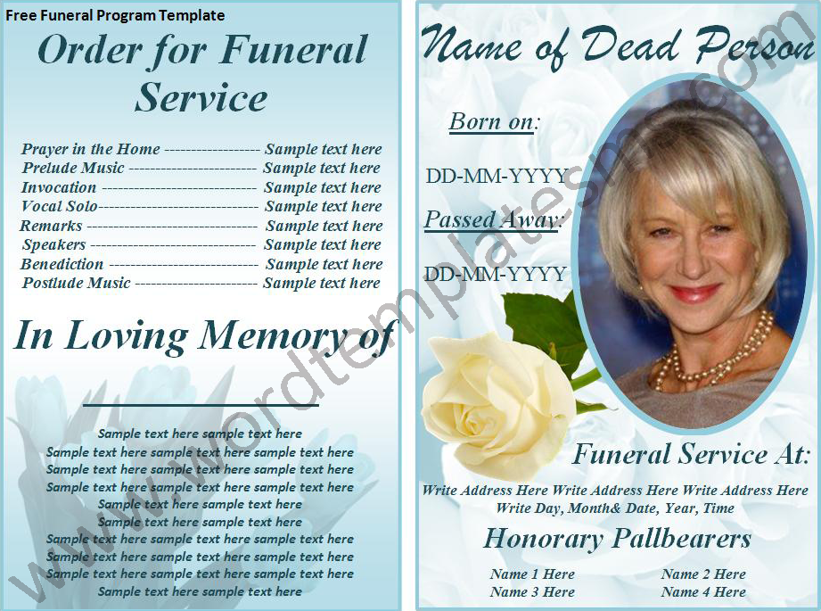 Free Print Funeral Brochures Program Template Page Ms Word Templates