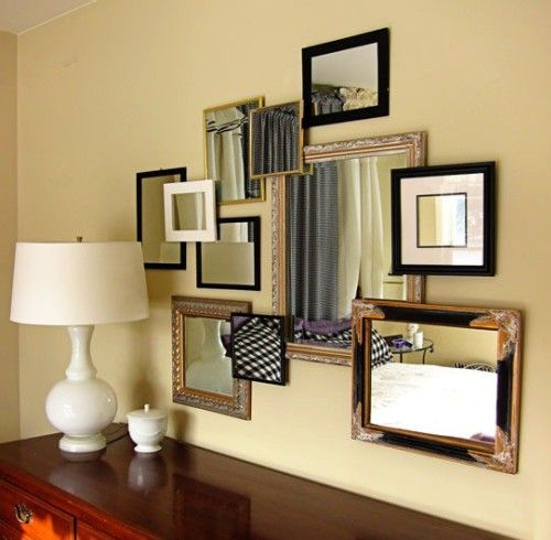 Find this Pin and more on Photo Collage. Wall Collage of framed mirrors. - Overlapping Frames For Depth And Variety Photo Collage