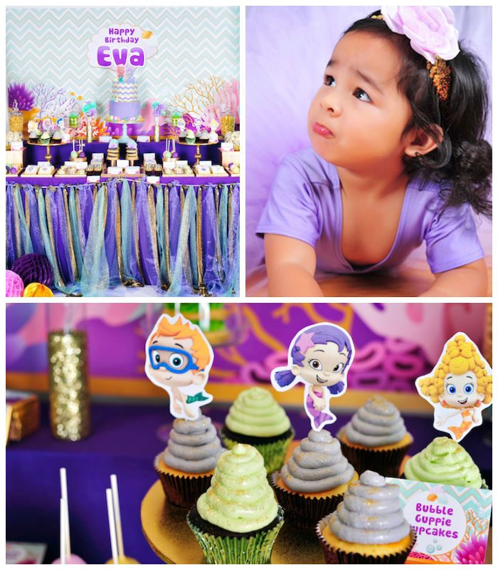Darling Bubble Guppies inspired birthday party via Kara's Party Ideas KarasPartyIdeas.com Desserts, printables, decor, invitation, cake, favors and more! #BubbleGuppies #UnderTheSeaParty