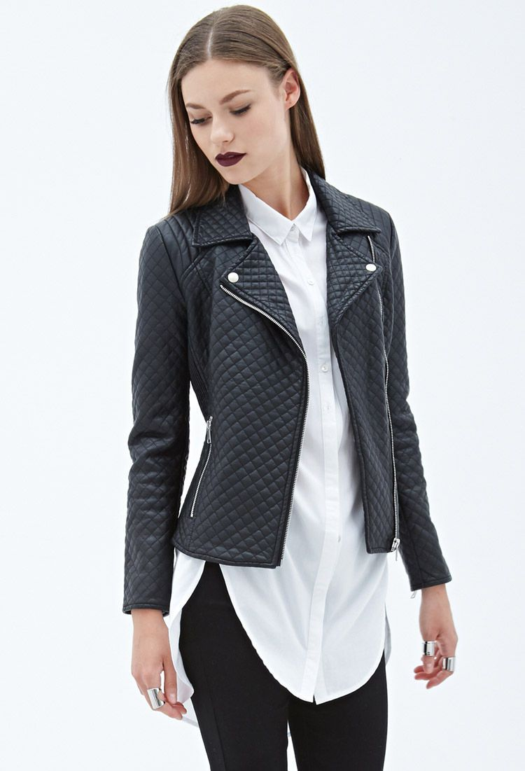 Quilted Faux Leather Moto Jacket CAD $51.80