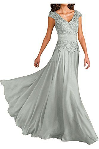 558a309732 Ever Girl Womens Deep VNeck Cap Sleeves Long Chiffon Mother of Bride Dresses  Grey US2   You can get additional details at the image link.