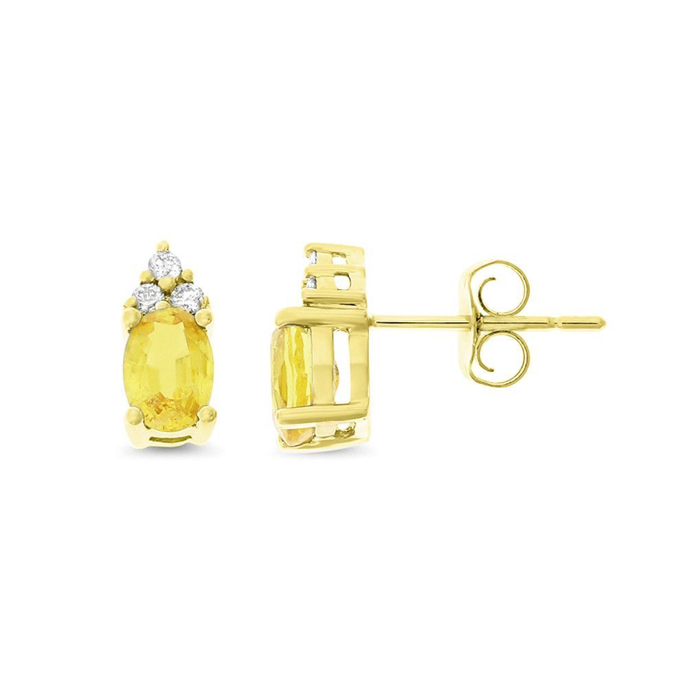 1.48ctw Genuine Natural Yellow Sapphire and Diamond Earrings 14kt Yellow Gold