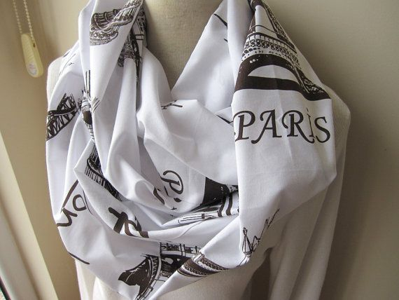 London paris writing eiffel tower print infinity scarf city name and symbol print women's scarves - book scarf