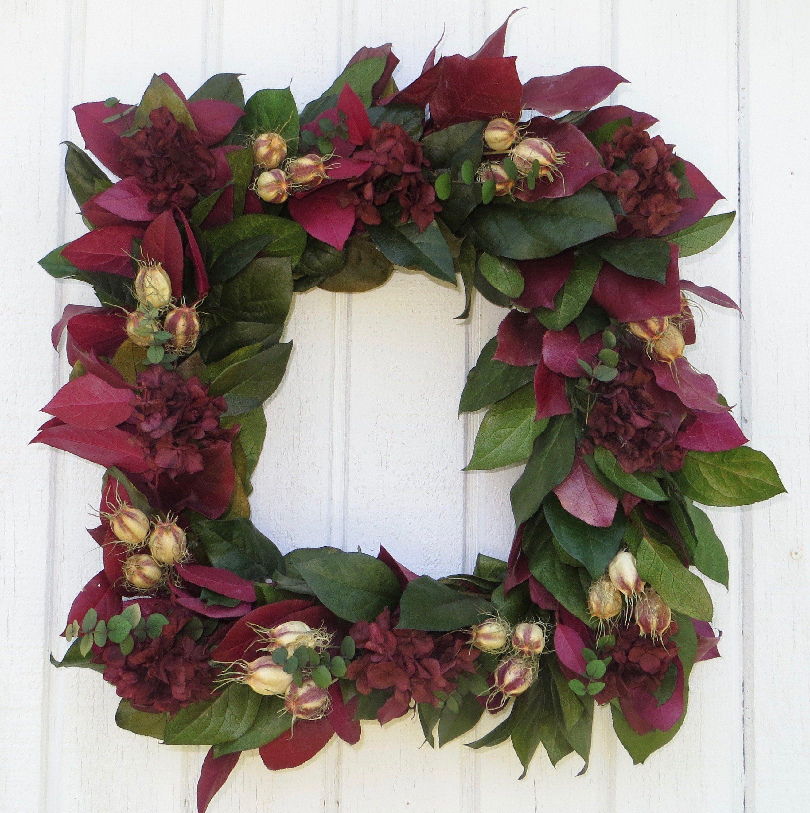 Square Wreath, Dried Flower Wreath, Burgundy And Green Wreath, Dried