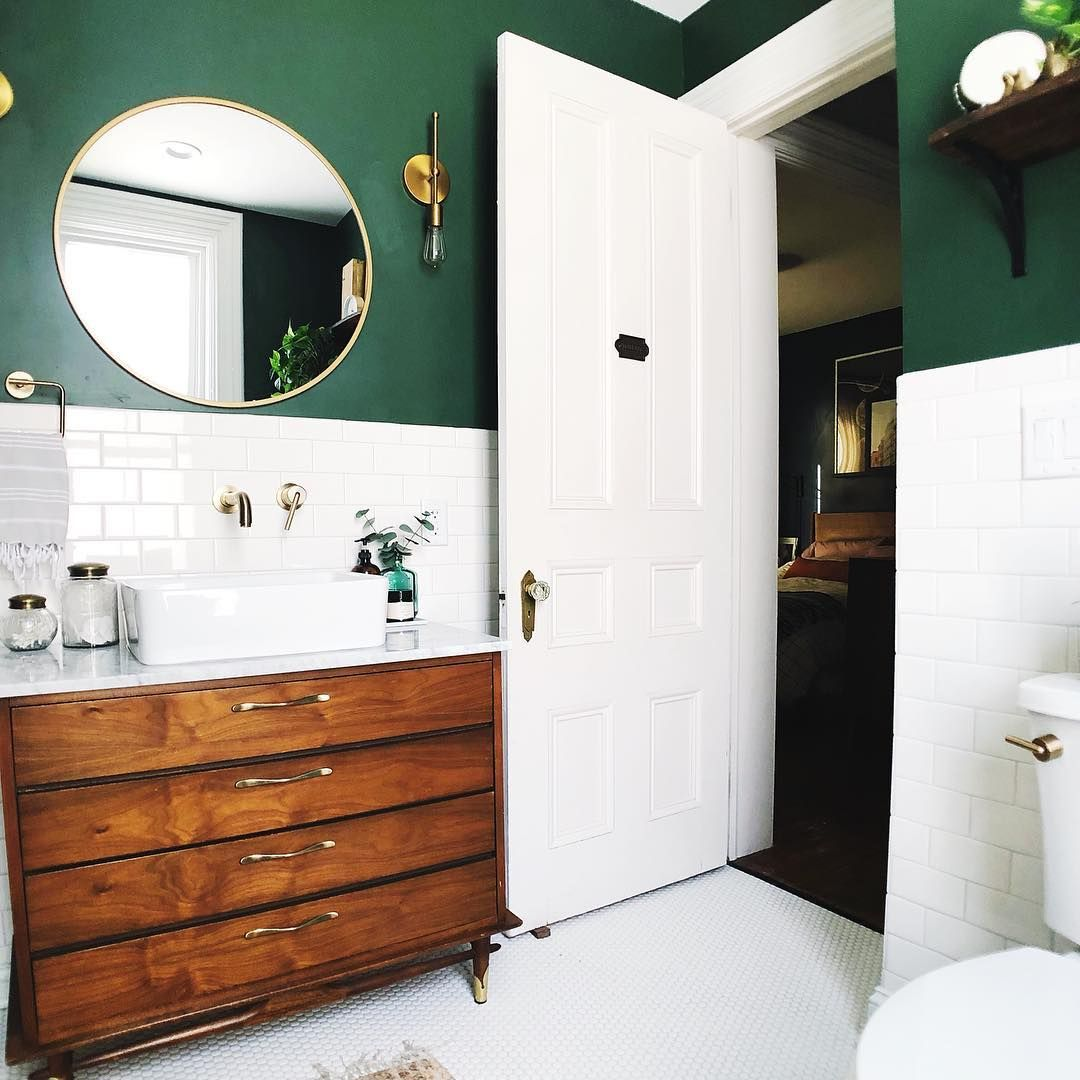 Dark Green Bathroom With Accent Wall: Michelle (@dreaminghomeblog) On Instagram: Cool