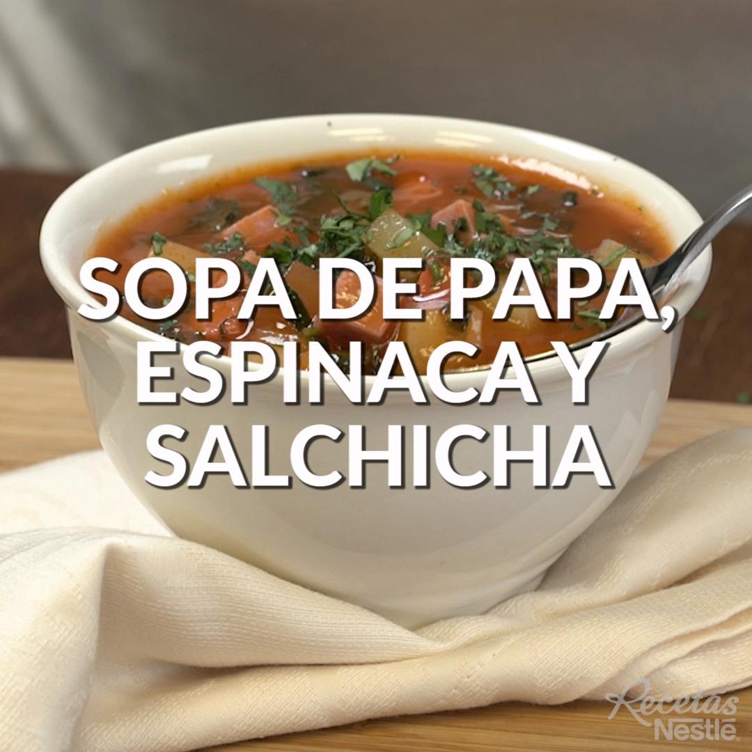 Sopa de papa con espinaca y salchicha