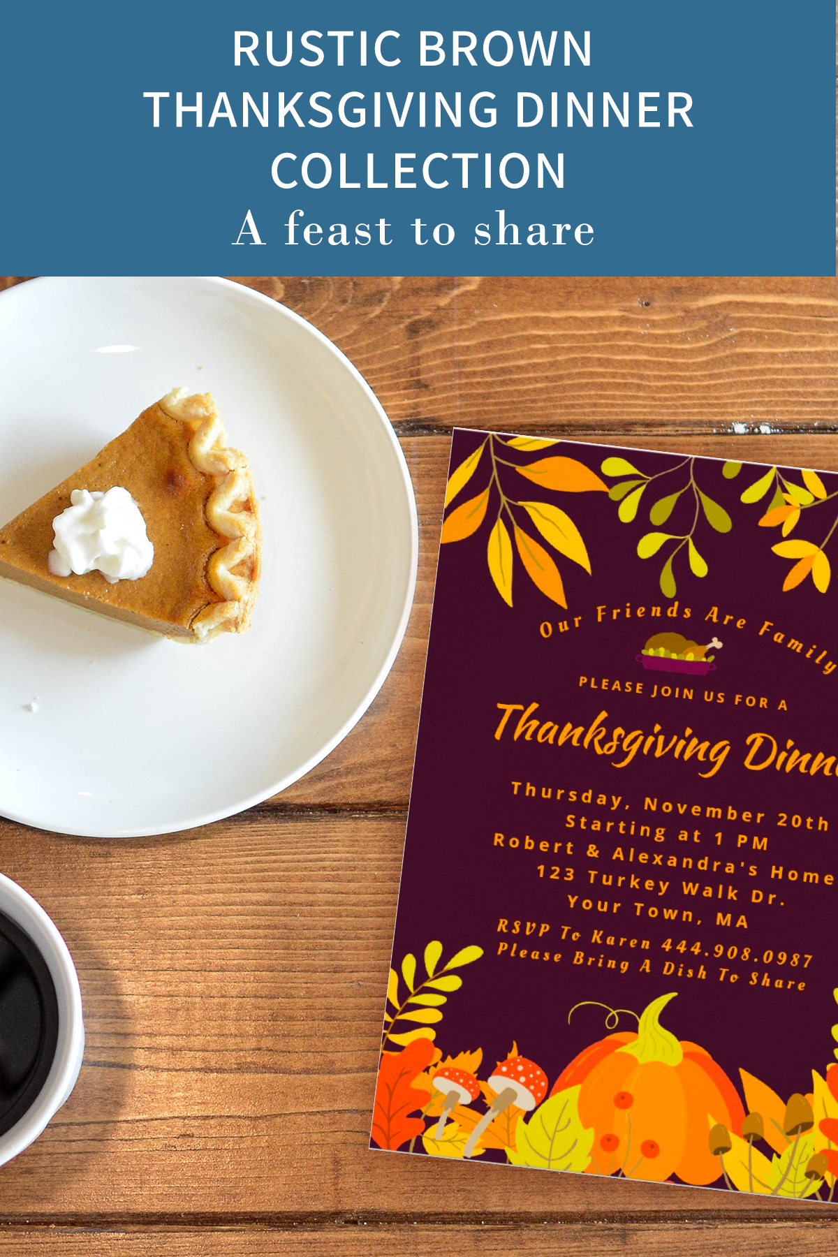 Rustic Brown Thanksgiving Dinner Collection #thanksgivingdinnertable Thanksgivin…