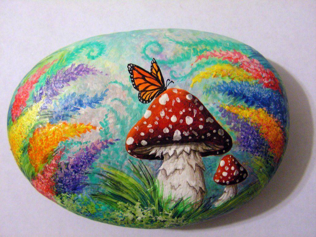 Mushroom Rock 2 Ot Nevuela Rock Painting Designs Rock Painting Art Stone Art