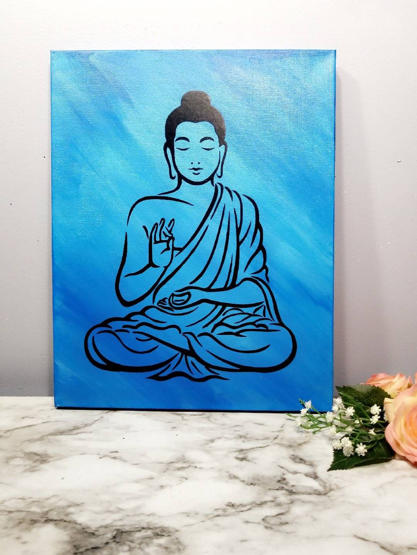 Buddha canvas wall art for yoga studio meditation art
