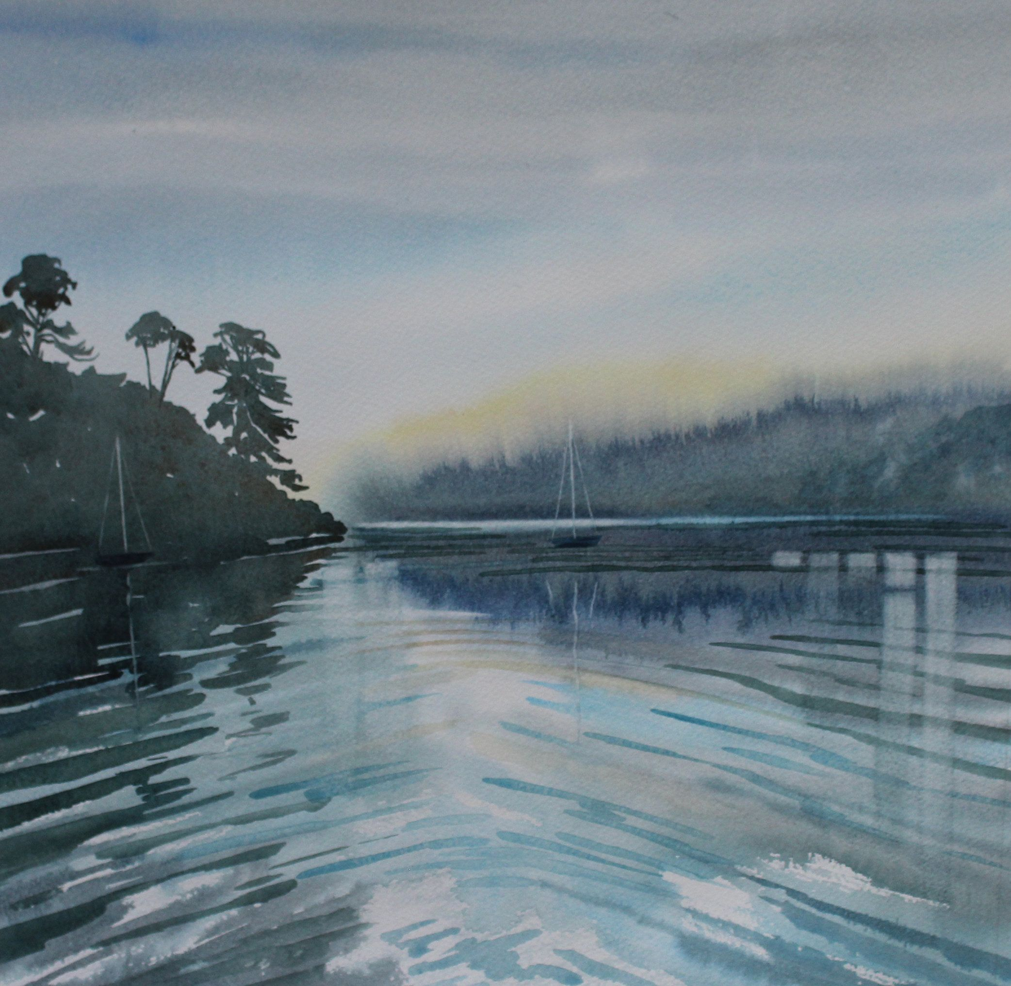 Cornwall Seascape Painting Gillan Creek Watercolour Of Helford