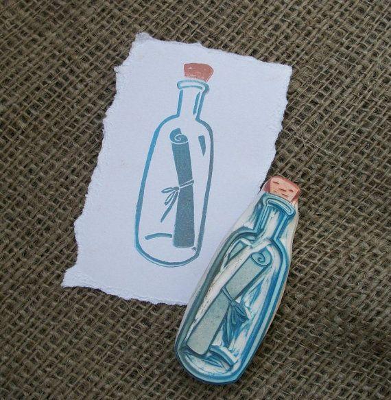 Nachricht in eine Flasche Stempel Hand geschnitzt #rubberstamping