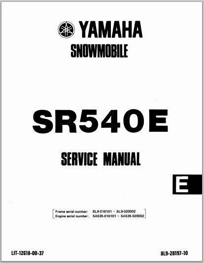 1981-1984 Yamaha SR540 G / H / E Snowmoblile Workshop