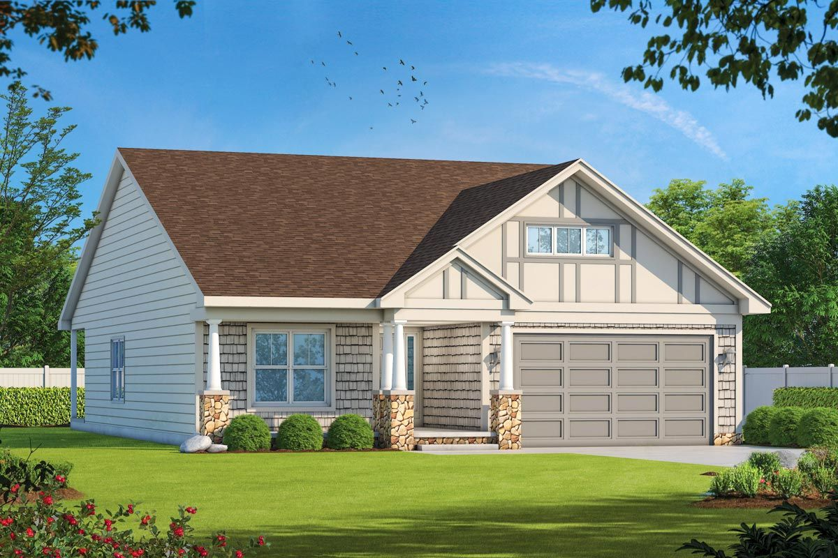 Economical 2 Bed Craftsman Ranch Home Plan