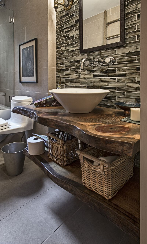 Modernes Bad Holz Waschtisch Kleines Badezimmer Umgestalten Badezimmer Rustikal Badezimmer