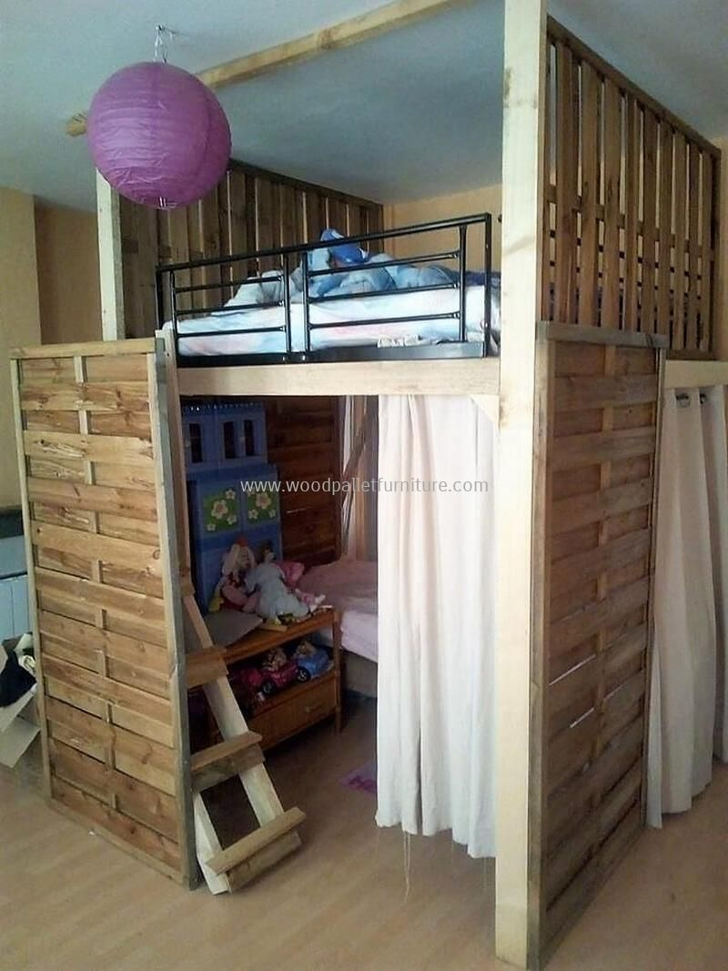 Loft bed plans with desk and shelves  Repurposed Wood Pallet DIY Ideas  Pallet kids Bed plans and Wood
