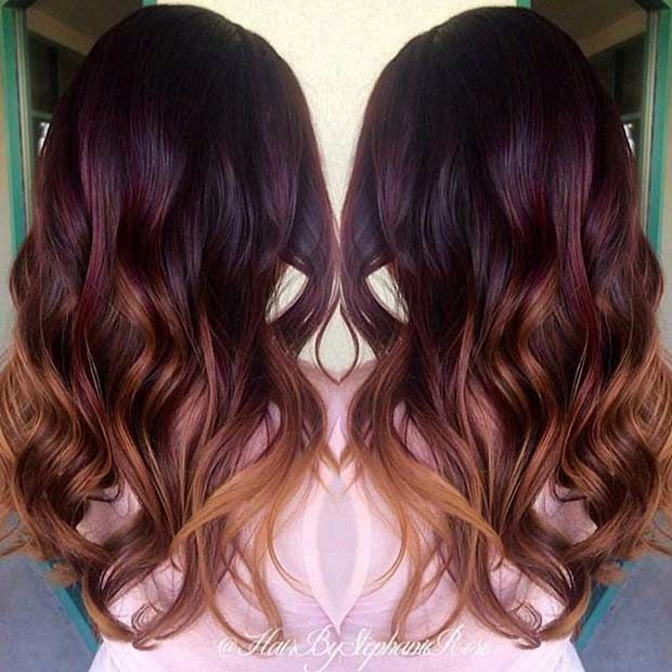 21 Amazing Dark Red Hair Color Ideas Stayglam Wine Hair Color Melting Hair Hair Color Balayage