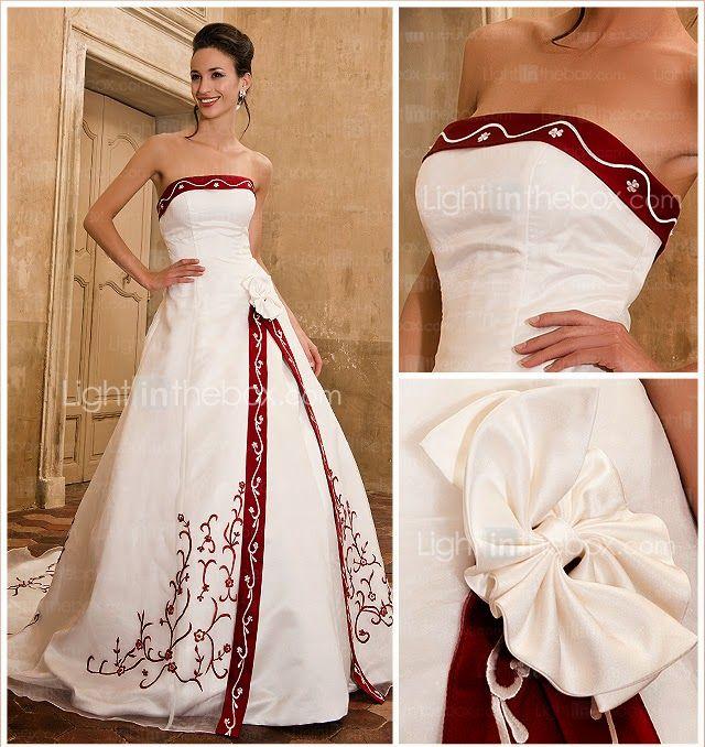 vestido de novia corte a con ribetes y bordados rojos | dresses