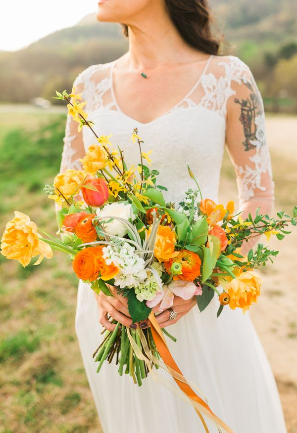 Bright bouquet, orange florals and ribbons // Laci Frazier Weddings