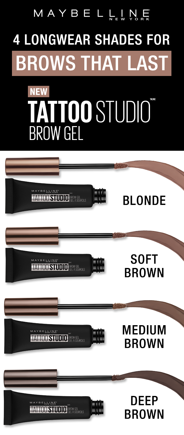 Maybelline Tattoo Studio Waterproof Eyebrow Gel Creates Fuller Looking Definition That Last For Days This Ult Waterproof Eyebrow Maybelline Tattoo Eyebrow Gel
