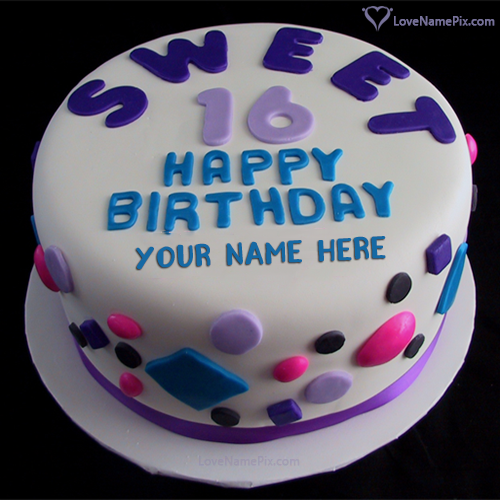 Phenomenal Sweet 16Th Birthday Cake For Girls With Name Photo Happy Personalised Birthday Cards Veneteletsinfo