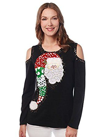 e76da520ae1 How cute is this sparkly Santa Christmas sweater for women  Cut-out  shoulders add an interesting and unexpected touch!