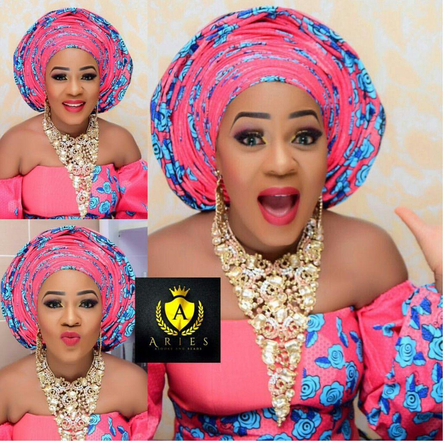 My Nigerian Wedding: Aso Ebi,gele, Nigerian Bride, Wedding,pink And Blue