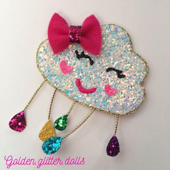 Rainbow cloud glitter hair clip, hair bow, headband #kidshairaccessories