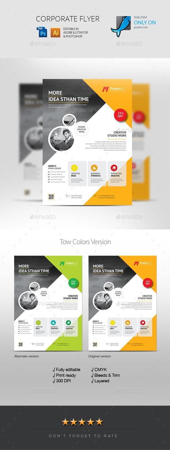 flyer template psd vector eps well layered organised text