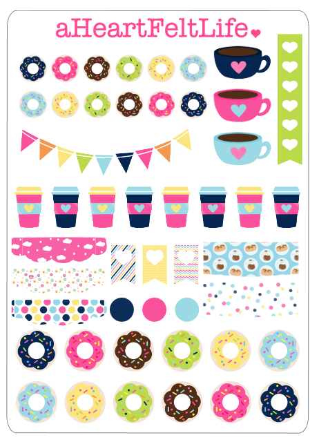 Coffee & Donuts planner/calender stickers by aHeartFeltLife on Etsy.   www.etsy.com/shop/aheartfeltlife