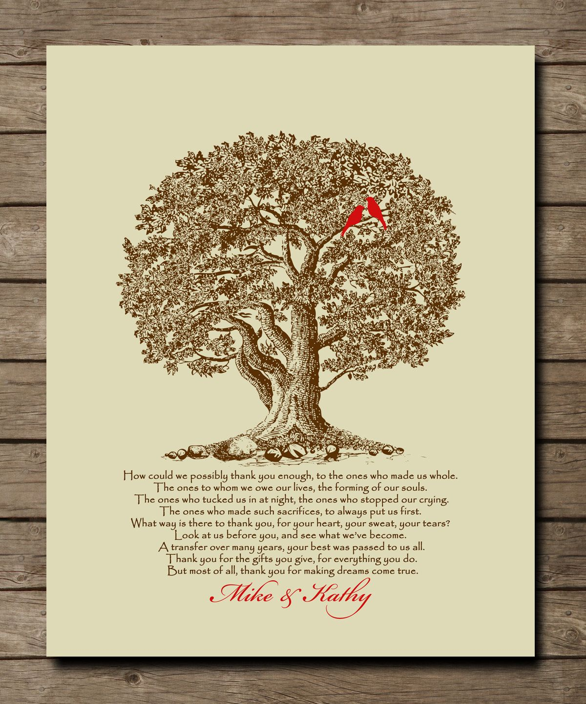 Personalized Wedding Tree Gift For Parents Of Bride Groom Appreciation