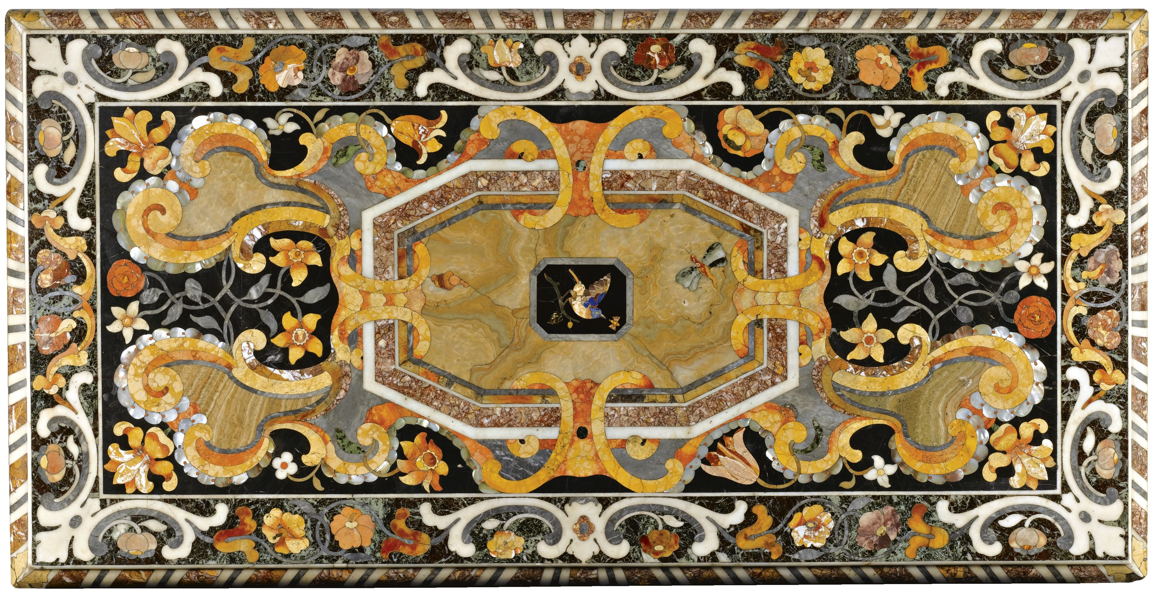 Date Unspecified A Pair Of Italian Pietre Dure Tenere Marbleother Pearl Inlaid Table Tops In The Manner Cosimo Fanzago 1591 1678