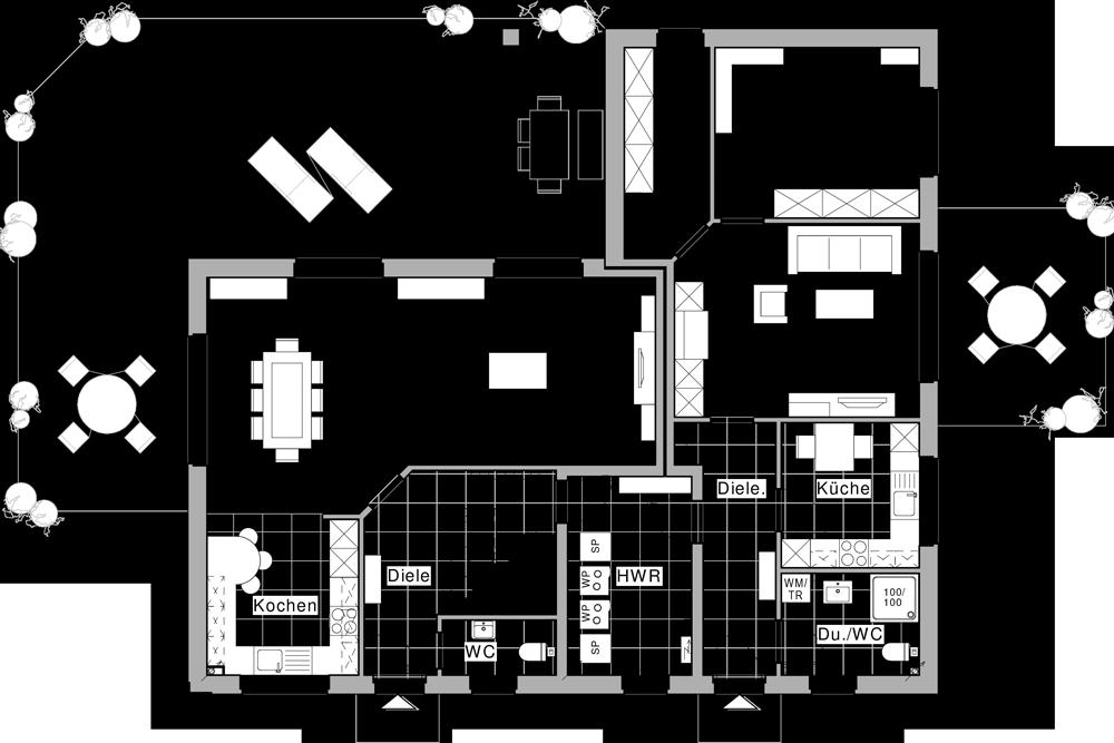 erdgeschoss wohnung 1 und 2 einliegerwohnung zwei generationen wohnen grundrisse. Black Bedroom Furniture Sets. Home Design Ideas
