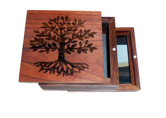 Kief Box Pollen Sifter Solid Rosewood Wood Burned Tree Of Life