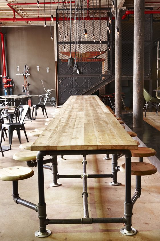Scaffold table base with seating pod attachment (made to order) | Reclaimed Interiors