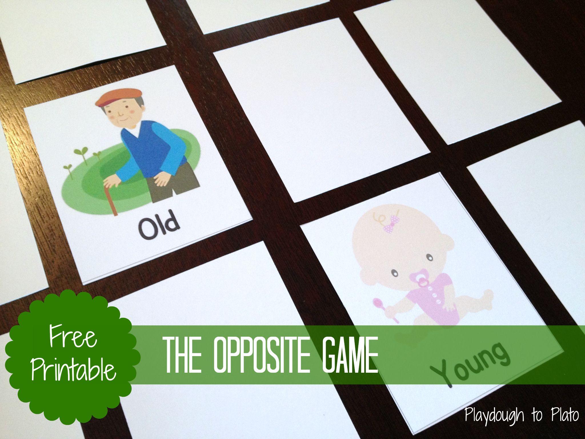 Teaching Kids Opposite Words The Opposite Game